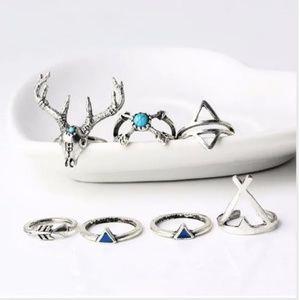 New! Women's Bohemian Silver Huntress 7pc Ring Set